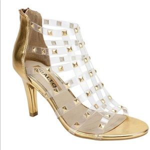 RIALTO Renae Gold Gladiator Studded Sandal SZ 9